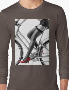 Sexy woman in red high heels and stockings riding bike art photo print Long Sleeve T-Shirt