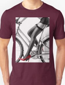 Sexy woman in red high heels and stockings riding bike art photo print Unisex T-Shirt