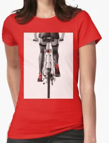 Sexy woman in red high heel shoes and stockings riding bicycle art photo print Womens Fitted T-Shirt