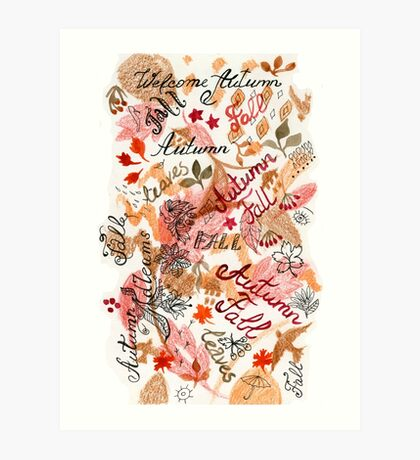 Autumn colors pattern mix Art Print