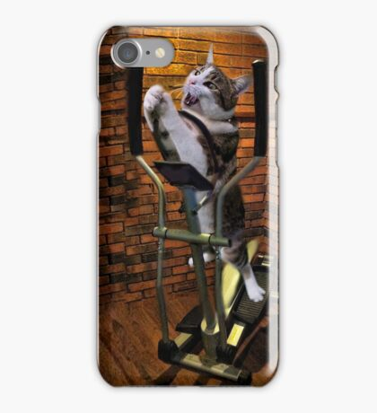 """""""MOM BRING ME SOME WATER THIS WORKOUT IS KILLING ME"""" CAT-FELINE EXERCISE THROW PILLOW & TOTE BAG iPhone Case/Skin"""
