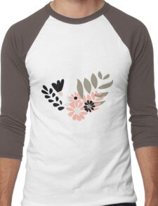 Seamless pattern design with hand drawn flowers and floral elements Men's Baseball ¾ T-Shirt