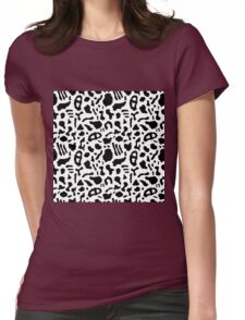 Seamless pattern with organic hand drawn rounded and stripe shapes Womens Fitted T-Shirt