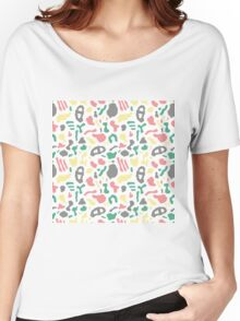 Seamless pattern with organic hand drawn rounded and stripe shapes Women's Relaxed Fit T-Shirt