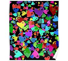 VW Love Hearts on Black Poster