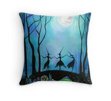 Witches Dancing Under the Moon Throw Pillow