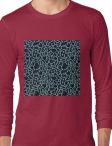 Seamless pattern with organic hand drawn rounded and stripe shapes Long Sleeve T-Shirt