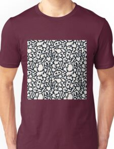 Seamless pattern with organic hand drawn rounded and stripe shapes Unisex T-Shirt
