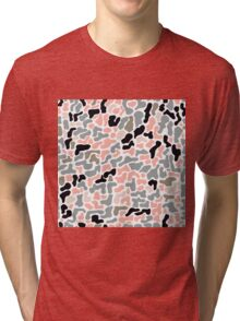 Seamless pattern with organic hand drawn rounded and stripe shapes Tri-blend T-Shirt