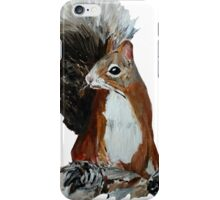 Red Squirrel Woodland Animal Acrylic Painting White Edit iPhone Case/Skin