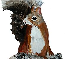 Red Squirrel Woodland Animal Acrylic Painting White Edit by JamesPeart