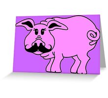 Hipster Pig Greeting Card