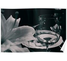 Fine glass and flower Poster