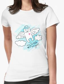 hand drawn cat angel Womens Fitted T-Shirt