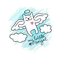 hand drawn cat angel Photographic Print
