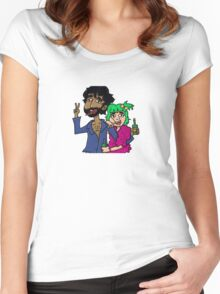 DRUNK FRIENDS KISH AND ETTE Women's Fitted Scoop T-Shirt
