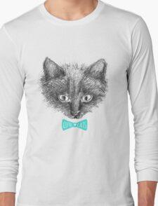 black cat face sketch Long Sleeve T-Shirt