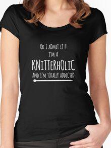knitterholic in white line Women's Fitted Scoop T-Shirt