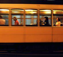 Lisbon tram at night  Sticker