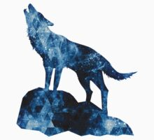 Howling Wolf blue sparkly smoke silhouette One Piece - Long Sleeve