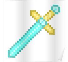 Pixel Art Electric Blue Sword Poster