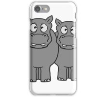team paar pärchen 2 freunde dick lustig comic cartoon kleines süßes niedliches baby kind nilpferd glücklich  iPhone Case/Skin