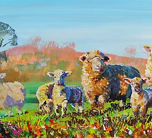 Sheep and lambs on a sunny day painting by MikeJory