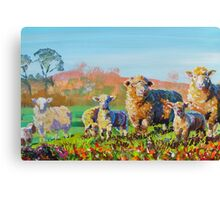Sheep and lambs on a sunny day painting Canvas Print