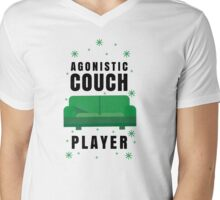 Agonistic Couch Player Green Mens V-Neck T-Shirt