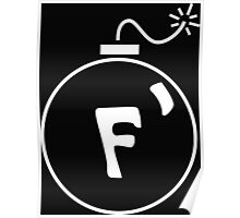 F Bomb in White Poster