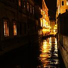 Golden Glow - Venice, Italy at Night by Georgia Mizuleva
