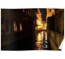 Golden Glow - Venice, Italy at Night Poster