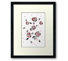 Black ink and red watercolor roses Framed Print