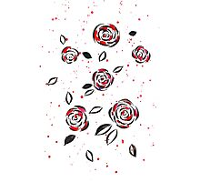 Black ink and red watercolor roses Photographic Print