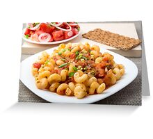 Cooked pasta cavatappi with stewed vegetables sauce Greeting Card