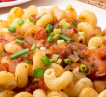Cooked pasta cavatappi with stewed vegetables sauce Sticker