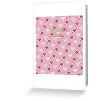Retro Ice Cream & Drugs Pattern (Pink) Greeting Card