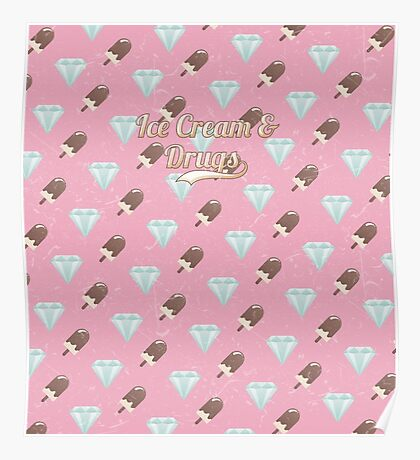 Retro Ice Cream & Drugs Pattern (Pink) Poster