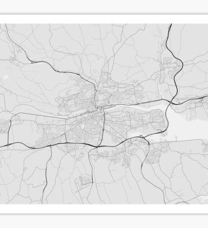 Cork, Ireland Map. (Black on white) Sticker