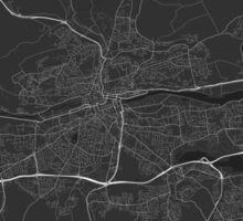 Cork, Ireland Map. (White on black) Sticker