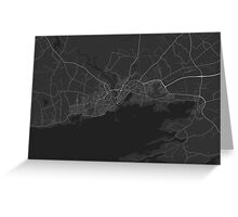 Galway, Ireland Map. (White on black) Greeting Card
