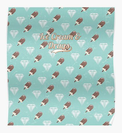 Retro Ice Cream & Drugs Pattern (Blue) Poster