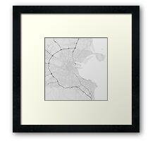 Dublin, Ireland Map. (Black on white) Framed Print