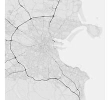Dublin, Ireland Map. (Black on white) Photographic Print