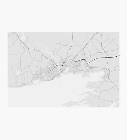 Galway, Ireland Map. (Black on white) Photographic Print