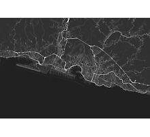 Genoa, Italy Map. (White on black) Photographic Print