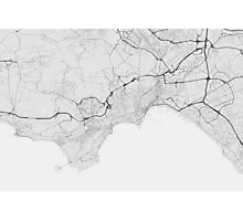 Naples, Italy Map. (Black on white) Photographic Print