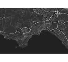 Naples, Italy Map. (White on black) Photographic Print