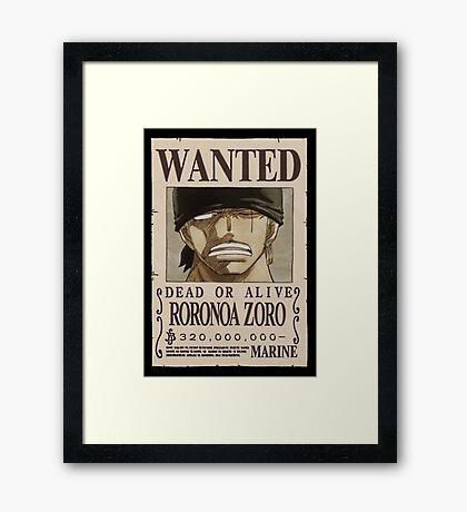 <ONE PIECE> Roronoa Zorro Wanted Framed Print