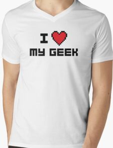 I Love My Geek Mens V-Neck T-Shirt